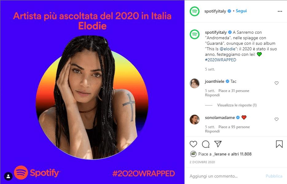 Spotify > Classifica Artista Donna più ascoltata del 2020 in Italia