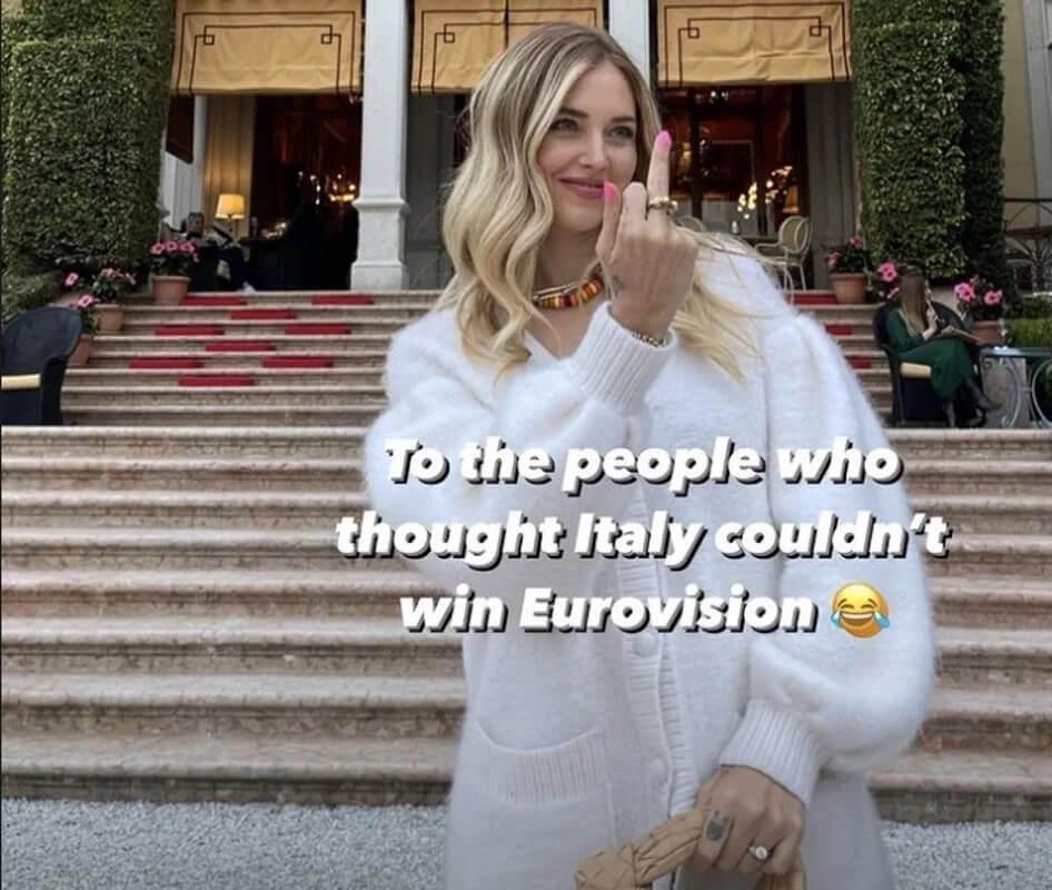 Vittoria dei Maneskin a Eurovision 2021 - Chiara Ferragni festeggia